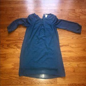 H&M Blue Long Balloon Sleeve Sheer Midi Dress 2